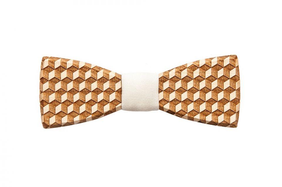 Jedinečný geometrický dřevěný motýlek Cubo