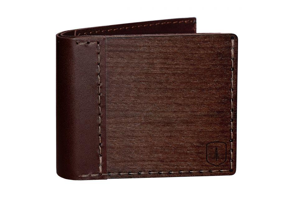 Luxusní dřevěná peněženka s částmi z hovězí usně