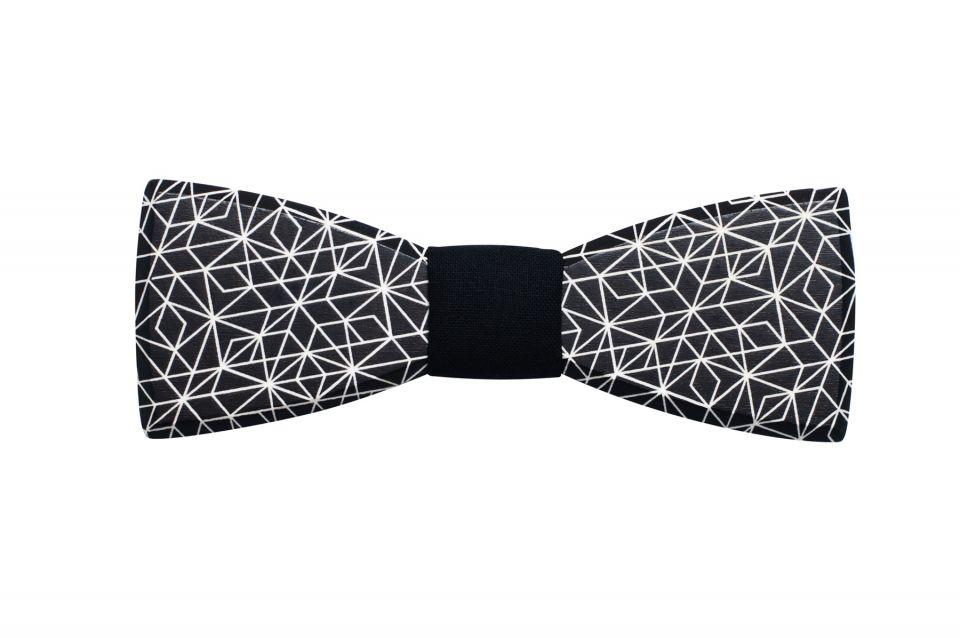 Černý pánský dřevěný motýlek s geometrickým vzorem Cassio