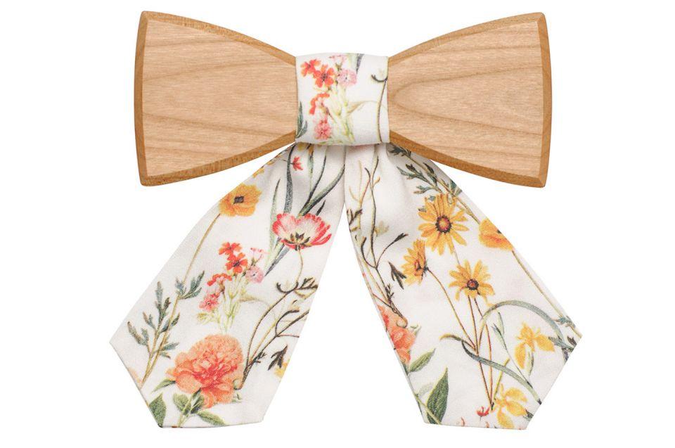 Jemný dřevěný motýlek pro ženy s květinovým potiskem Pae