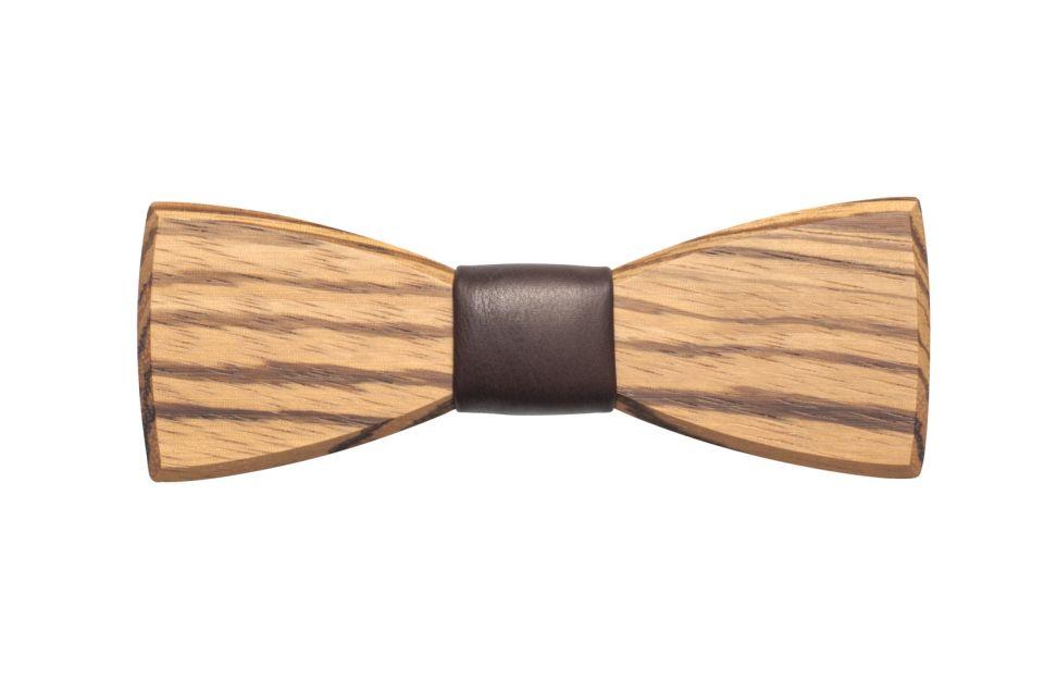 Dřevěný motýlek Corra s koženým detailem