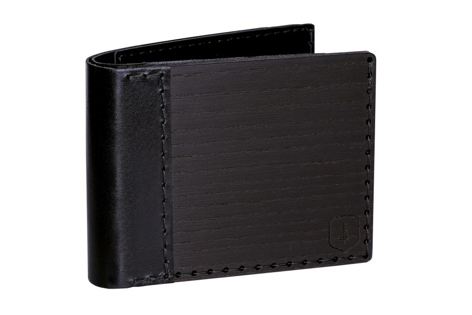 black wallet made out of wood and leather