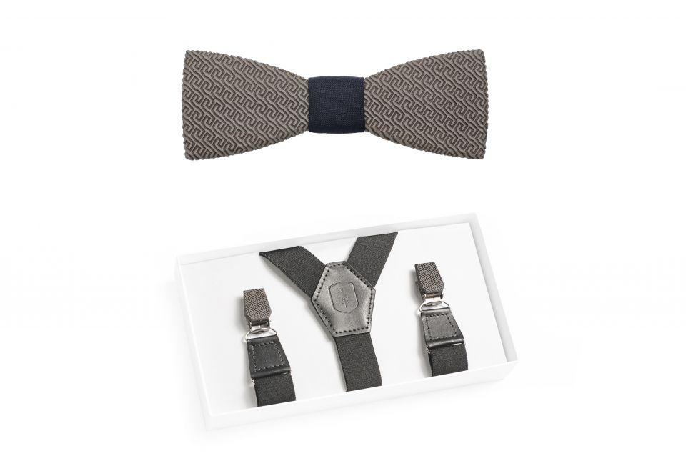Luxusní kšandy s dřevěnými detaily Aliq Suspenders a dřevěný motýlek Aliq