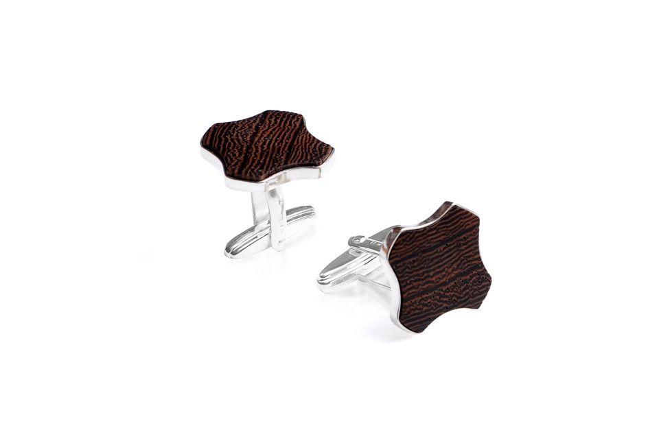Luxusní dřevěné manžetové knoflíčky z pravého stříbra Flovea Cuff