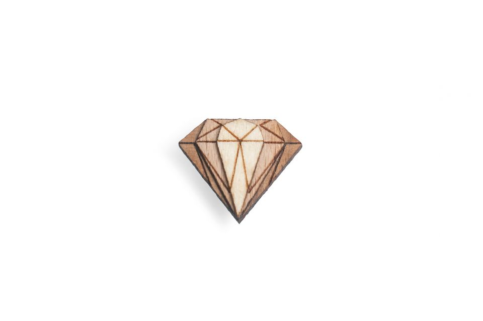 Elegantní dřevěná ozdoba do klopy Diamond Lapel