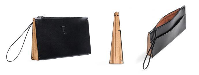 Černé kožené psaníčko s dřevěným detailem Apis Clutch