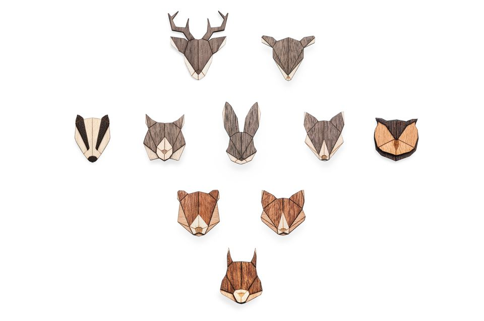 Set of animal brooches