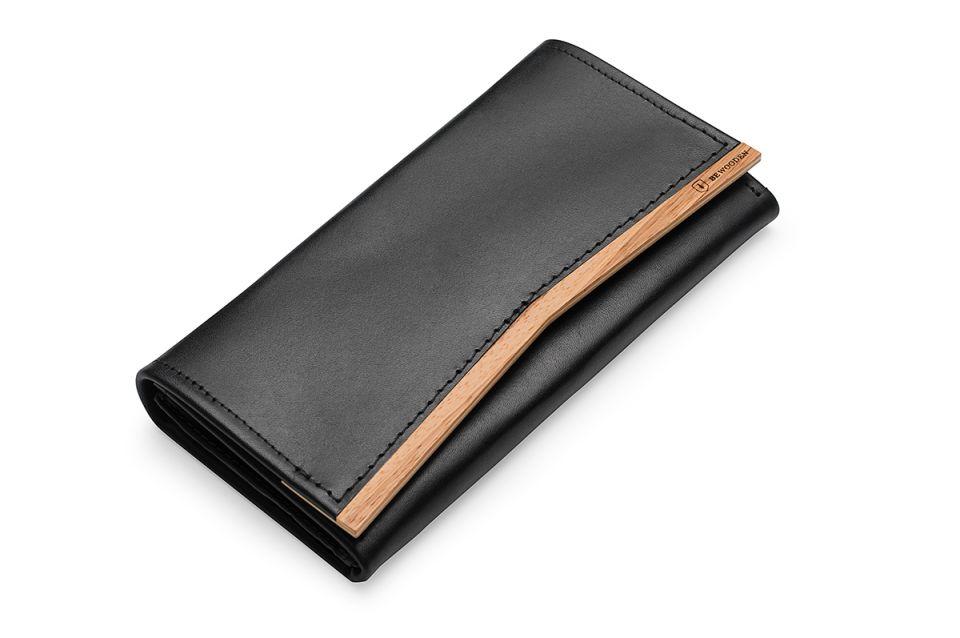 Luxusní dámská kožená peněženka Api s dřevěným detailem ze dřeva zebrano
