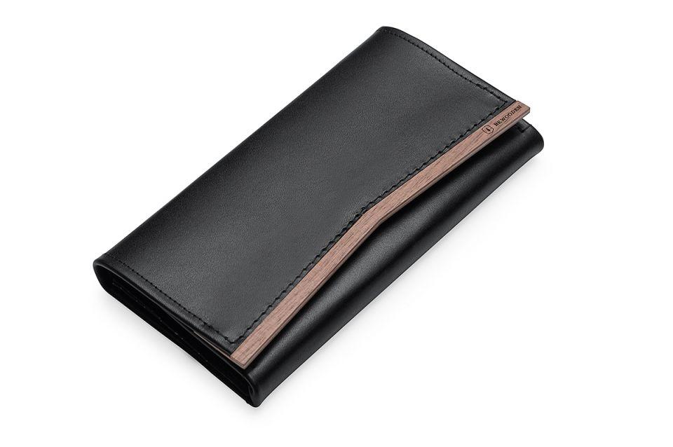 Dámská kožená peněženka s originálním dřevěným detailem