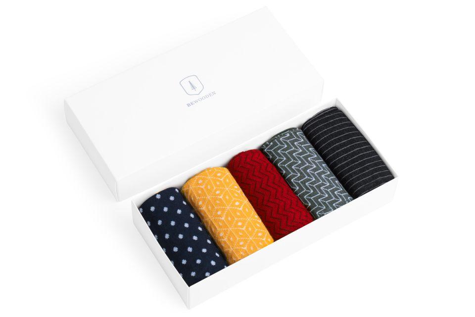 Set pěti párů stylových ponožek z bavlny BeWooden