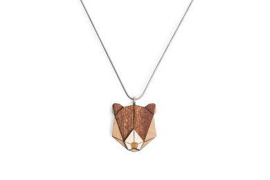Dřevěný přívěsek BeWooden Bear Pendant na krk s řetízkem zdarma