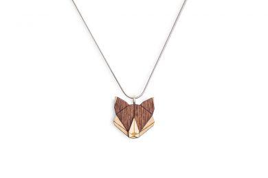 Dřevěný přívěsek BeWooden Fox Pendant na krk s řetízkem zdarma