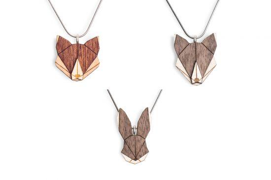 BeWooden - Wolf & Fox & Hare Pendant Set