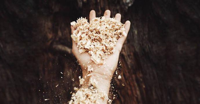 Mužská ruka s dřevěnými pilinami