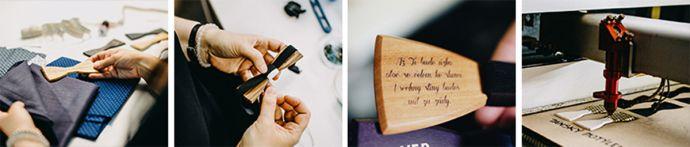 koláž fotek z výroby dřevěných doplňků bewooden výběr látky ruční šití a gravírování na dřevěném motýlku