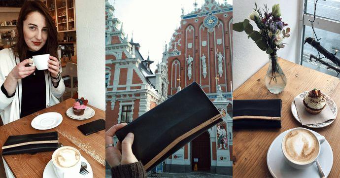 Koláž fotek s dřevěnou peněženkou Liti Woman Wallet