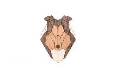Dřevěná brož ve tvaru psa Collie Brooch s praktickým zapínáním a možností výměny či vrácení do 30 dnů zdarma