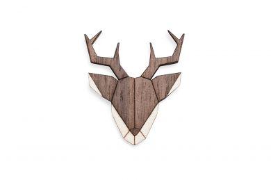 Dřevěná brož Deer Brooch s praktickým zapínáním a možností výměny či vrácení do 30 dnů zdarma