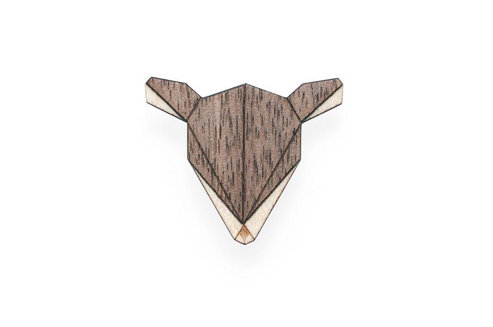 Luxusní dřevěná brož Fox Brooch