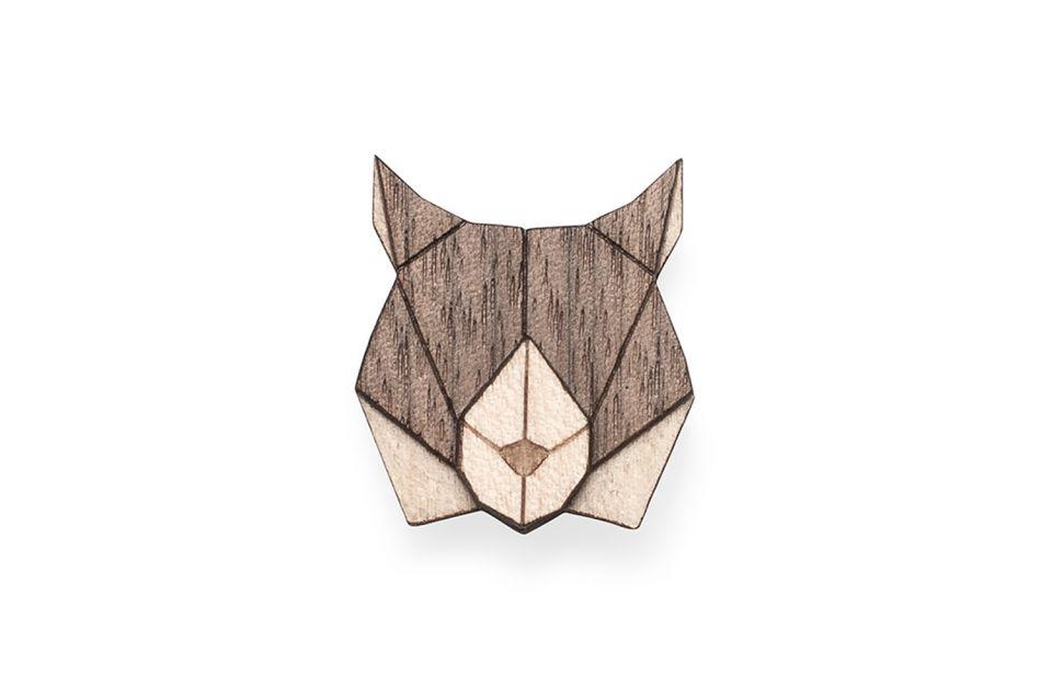 Dřevěná brož Lynx Brooch