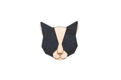Dřevěná brož Black Cat Brooch s praktickým zapínáním a možností výměny či vrácení do 30 dnů zdarma