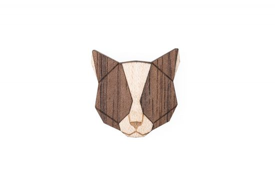 BeWooden - Grey Cat Brooch