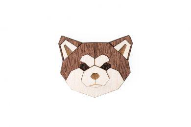 Dřevěná brož ve tvaru psa Akita Inu Brooch s praktickým zapínáním a možností výměny či vrácení do 30 dnů zdarma