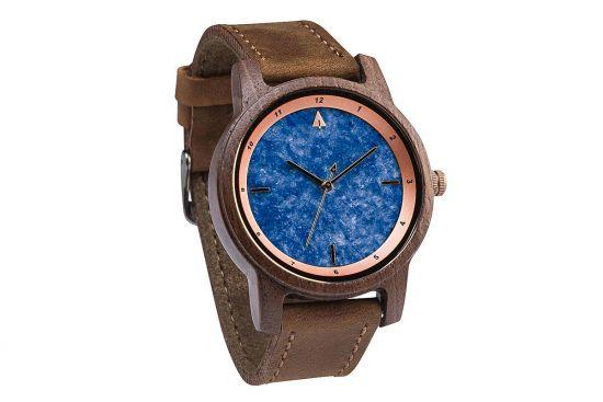 BeWooden - 0-Armbanduhr-Herren-Holz-Horizon-Walnut-Marble-Brown