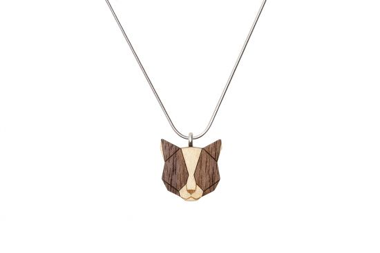 BeWooden - 0 Grey cat pendant