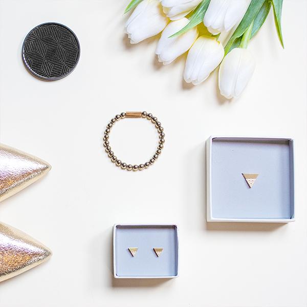 Set náušnic a náhrdelníku Liti a dřevěné zrcátko BeWooden Vespa