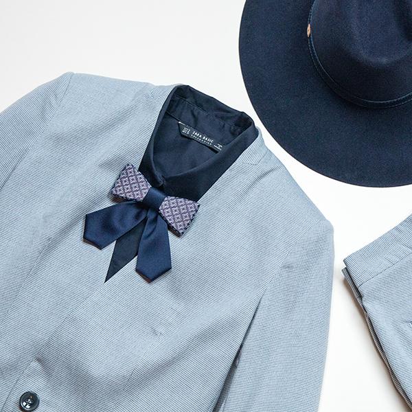 Set dámského dřevěného motýlka Stellia a luxusního klobouku Stellia Hat
