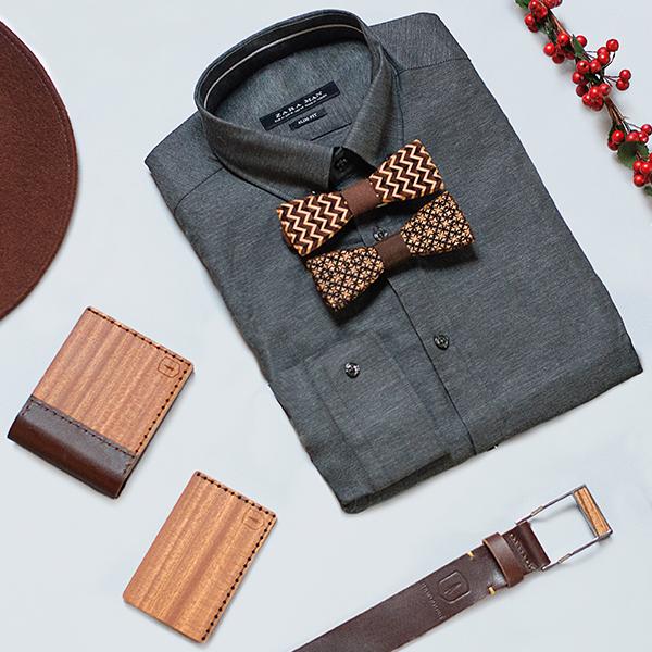 Stylový set dřevěných doplňků BeWooden - dřevěná peněženka, vizitkovník, kožený opasek a dřevěné motýlky