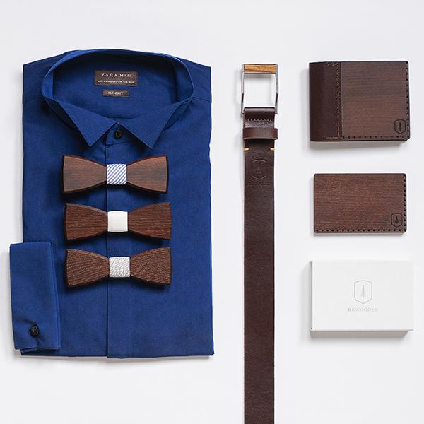Elegantní set dřevěných produktů BeWooden - peněženka, vizitkovník ,dřevění motýlci a kožený opasek